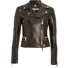 Burberry London 'Mossgrove' Leather Jacket ($2,995) ❤ liked on Polyvore featuring outerwear, jackets, leather moto jacket, rider jacket, genuine leather biker jacket, leather jacket and genuine leather jacket