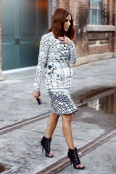 Love for prints + peep toe ankle booties @ Sydney Fashion Week