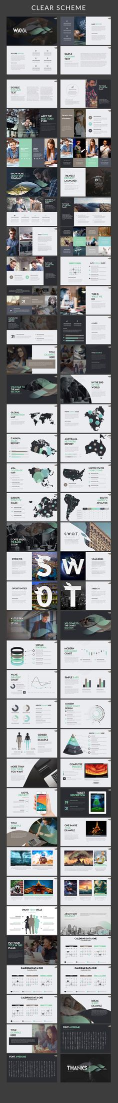 Elegantly modern PowerPoint presentation template with inforgraphics and both a dark and light color scheme.