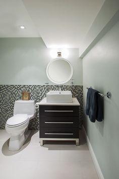 #bathroom #custommirror #white  #blue #tile #sink #interiordesign #hillcrestdesign http://www.hillcrestdesign.ca