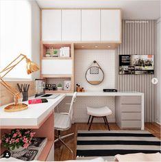 32 Ideas Home Office Quarto Feminino For 2019 Small Room Bedroom, Home Bedroom, Bedroom Decor, Home Office Design, Home Office Decor, Home Decor, Office Style, Office Ideas, Girl Bedroom Designs