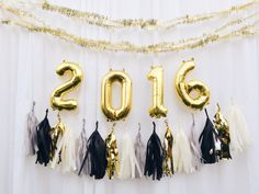 2016 letter balloons - gold or silver foil mylar letters - with Full Tassel Garland