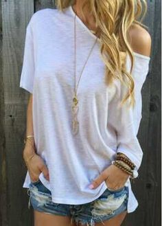 Round Neck Double Slit White T Shirt on sale only US$14.16 now, buy cheap Round Neck Double Slit White T Shirt at modlily.com