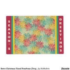 #Retro_Christmas Tinsel PomPoms (Tropical Colors) - This festive looking, reversible #laminate_placemat is perfect for seasonal daily use and/or for Christmas Holiday Parties. Adorned w/an original design of a blizzard of flower like Pompoms made of tinsel using a 1950-60's Retro inspired #tropical_colors palette of turquoise, sea-foam, deep yellow & scarlet red. Complimentary image w/ #monogram on back. All text can be #personalized .