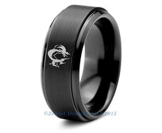 Metal Gear Solid Video Game Tungsten Wedding Band Ring Mens Womens Beveled Edge Brushed Black Anniversary Engagement Custom Sizes Available