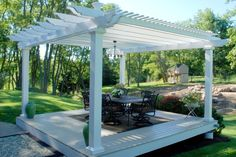 pergola plans Hampton Premium Vinyl Double Beam Free Standing Pergola - 8 Inch Square Columns The leader in ready-to-assemble pergola kits shipped direct to you. Cedar, redwood, and fiberglass pergola kits both free-standing and attached Vinyl Pergola, Pergola Canopy, Metal Pergola, Deck With Pergola, Cheap Pergola, Wooden Pergola, Outdoor Pergola, Covered Pergola, Backyard Pergola