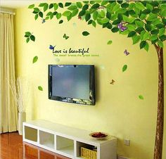 Removable Vinyl Tree Wall Decal Wall Art Wall Sticker - Butterflies on the tree by CustomWallDecal