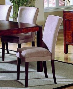 Set of 2 Achillea Contemporary Peat Microfiber Parson Chairs - http://www.furniturendecor.com/set-of-2-achillea-contemporary-peat-microfiber-parson-chairs/
