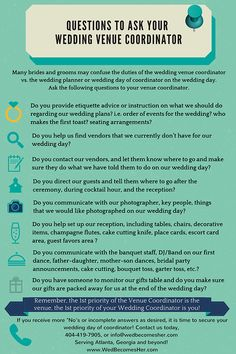 New on the Wed Becomes Her blog....Questions to Ask Your Venue Coordinator. Often times, couples do not know that the Venue Coordinator is not the Wedding Day of Coordinator. Get the details from this infographic and the blog.