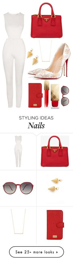"""""""Red Tip Loubees"""" by perichaze on Polyvore featuring Topshop, Vita Fede, Prada, Dolce&Gabbana, Burberry and Kristen Elspeth"""