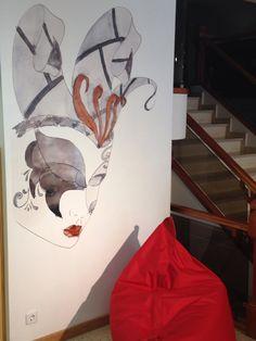 Ilustración de arlequín , de papel a pintura en pared
