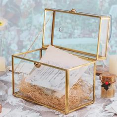 Large Foot Rectangle with Slot on Top Geometric Glass Card Box image 2 Glass Terrarium, Terrarium Ideas, Wedding Reception, Wedding Ideas, Reception Table, Money Envelopes, Small Potted Plants, Photo Storage, Glass Boxes