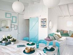 Originally a dark garage, a two-story home is renovated with fresh decor mixing rustic and vintage in El Poblenou, a beach district of Barcelona, Spain. House Of Turquoise, Barcelona, Style Deco, House By The Sea, Small Room Bedroom, Deco Design, Beach House Decor, Coastal Decor, Interior Design Living Room