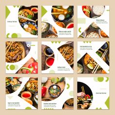 Collection of card template with food concept PSD file Food Graphic Design, Food Menu Design, Food Poster Design, Web Design, Instagram Square, Instagram Design, Free Instagram, Instagram Grid, Design Plat