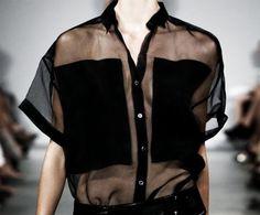 - black sheer shirt with opaque modesty panels - sheer blouse; Fashion Mode, Look Fashion, High Fashion, Fashion Outfits, Womens Fashion, Fashion Trends, Fashion Black, Stylish Outfits, Looks Style