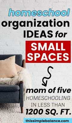 Homeschool Organization in a Small Home: It's hard enough to fit all the things that come with kids in a small home, but the you add homeschool supplies? It's enough to break the most organized mom. Try these homeschool organization ideas for small spaces before you give up! From a mom of 5 who's lived in small homes for years #homeschool #homeschooling