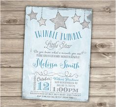 Twinkle Twinkle Little Star Boy Baby Shower Invitations Shabby Chic Blue and Grey Glitter Theme Party its a boy Vintage Personalized Baby Shower Niño, Baby Shower Vintage, Baby Shower Parties, Baby Shower Themes, Baby Shower Decorations, Shower Ideas, Shower Party, Invitaciones Baby Shower Niña, Party Themes For Boys