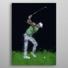 """Beautiful """"Golfer"""" metal poster created by Petr Kábrt. Our Displate metal prints will make your walls awesome. Splatter Art, 10 Tree, Wood Patterns, Poster Making, Print Artist, Black Wood, New Artists, Cool Artwork, Trees To Plant"""