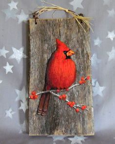 Pretty Cardinal authentic barnwood rustic hand by SuzysSantasetc
