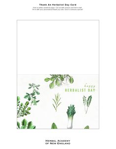 Today is Thank an Herbalist Day - print one of these cards and give to someone who has inspired your herbal journey // Thank An Herbalist card