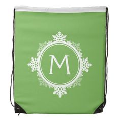 Snowflake Wreath Monogram in Lime Green & White Backpack | Visit the Zazzle Site for More: http://www.zazzle.com/?rf=238228028496470081