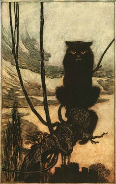 Arthur Rackham (Inglaterra, 1867-1939). By day she made herself into a cat, 1920.