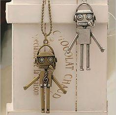 Hotsale 2014 wholesale Fashion Jewelry Shining Cute  Robot Necklace Pendant  For Women