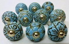 Sky Blue Vintage Look Ceramic Knobs Vintage Ceramic Door Knobs