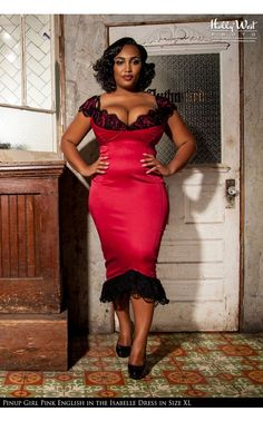 Laura Byrnes California- Isabelle Dress in Red - Plus Size | Pinup Girl Clothing