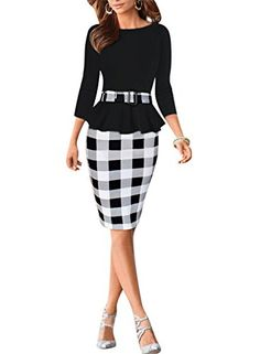 Viwenni Womens Houndstooth Belted Colorblock Tartan Wear to Work Casual Pencil DressXLargeBlack ** You can get more details by clicking on the image.