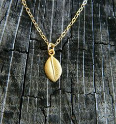 Leaf Necklace Tiny Charm Necklace  Minimal by DanglingJewelry