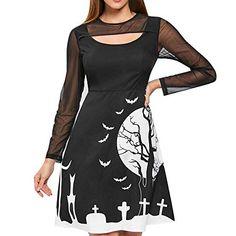 Wintialy Women Halloween Party Patchwork Print Zipper Long Sleeve Knee  Length Dress Best a71fee9d1