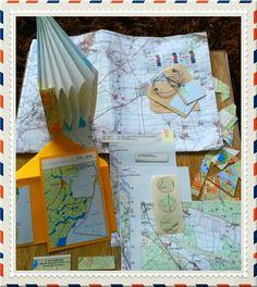 Mooie snailmail thema landkaart ontvangen in harmonica-envelop-mapje!