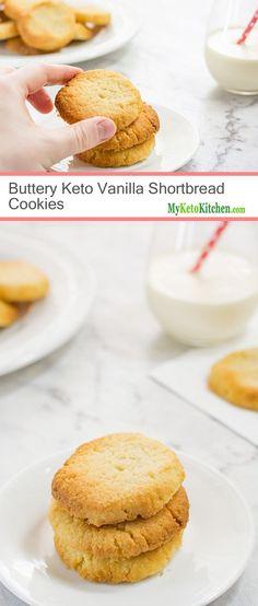 Best Keto Shortbread Cookies Low Carb Recipe Easy Step by Step - Keto Brownies - Ideas of Keto Brownies - Buttery Keto Vanilla Shortbread Cookies (Gluten Free Grain Free Low Carb) Keto Cookies, Cookies Gluten Free, Chip Cookies, Vanilla Cookies, Almond Cookies, Pumpkin Cookies, Sugar Cookies, Desserts Keto, Keto Snacks