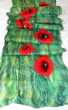 Felted SCARF COBWEB POPPIES Delicate Fancy scarf Felted by #Filtil  #felted #green #cobweb #scarf #poppy #red #wool #merino #art