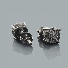 Black Diamond Stud Earrings 0.25ct Sterling Silver