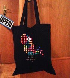 diy design on a cloth bag made with drawing pins and nail polish