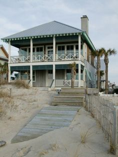 Lake House Ideas Summer Beach Cottage, large front porch, two-story porch, island home, vacation hom