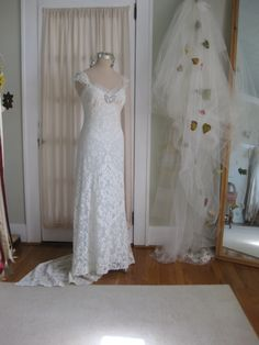 Rhinestone Butterfly Hand Beaded Vintage French Lace hand dyed Blue Green Wedding Gown by hippiebride on Etsy