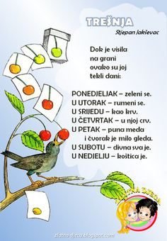 Zlatna djeca: Trešnja (Stjepan Jakševac) Preschool Projects, Preschool Activities, Crafts For Kids, Croatian Language, Kids Library, Anchor Charts, Literature, Kindergarten, Projects To Try