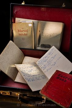 One shouldn't snoop, but Agatha left her  notebooks open...... ( some of Agatha Christie's notebooks )
