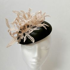 Leather hat with lace Leather Hats, Fascinator, Anna, Crown, Lace, Stuff To Buy, Jewelry, Fashion, Moda