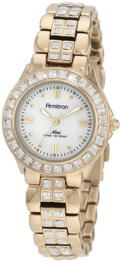 Armitron Women's 75/3689MPGP Swarovski Crystal Accented Gold-Tone Bracelet Watch >>> Click image to review more details.