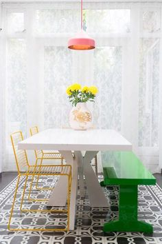 A genius mashup of contrasting colors, shapes and styles.