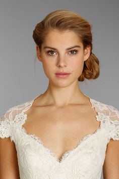 Lace Wedding Dress with bold brows