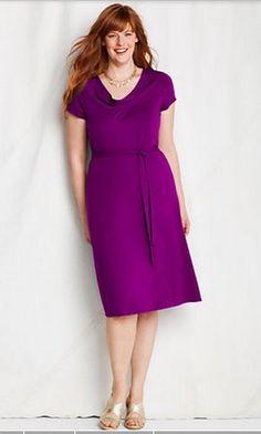 Drape Neck Purple Dress by Land's End