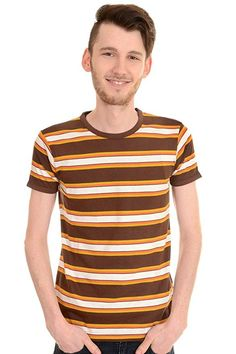8ef6f930404d9a Mens Run   Fly Indie Mod Retro Brown Engineered Striped T Shirt