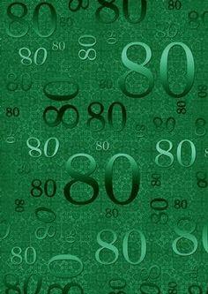 Dark Green 80 Birthday A4 Backing Paper
