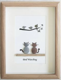 This is a beautiful small Pebble Art framed Picture of 2 Cats watching Birds- Bird Watching handmade by myself using Pebbles and Driftwood Size of Picture incl Frame : approx. 22cm x 17cm This Picture is only available as shown in Photo Thanks for looking Doris Facebook: https://facebook.com/Pebbleartbyjewlls4u Product Code: P - Pink