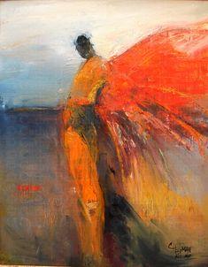 sa represente une personne avec des ailes mais se n'est pas tres claires sa ses faites avec de la peinture les couleurs ne sont pas tres belle se sont des couleures froide et par dessus des couleures chaudes dans l'espase la personnes esr au centre quand je les vue j'est ressentie du degou car je n'aime pas la couleure et le sujet representer est flou